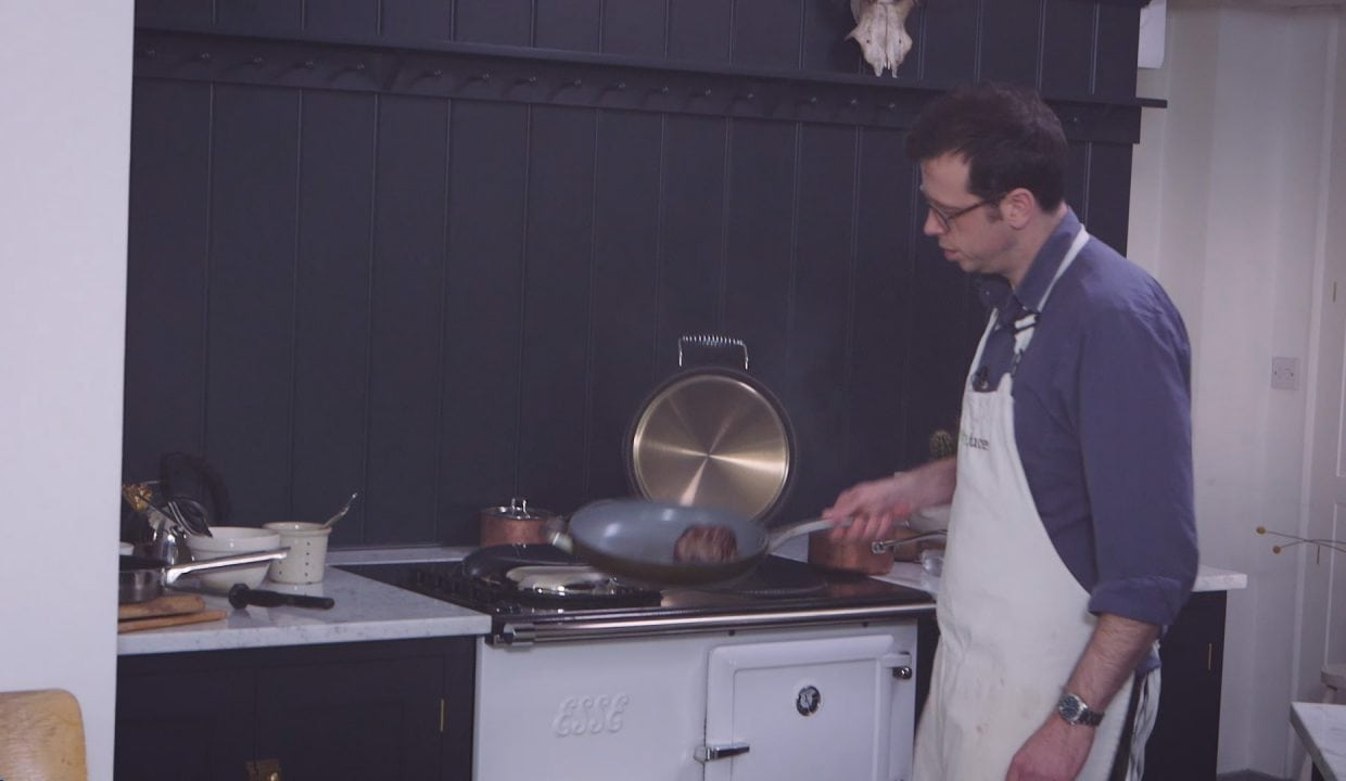 Tim Maddams cooking on an ESSE range cooker