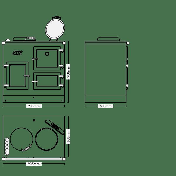 ESSE EL 13AMP cooker dimensions