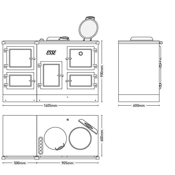 ESSE EL 13AMP cooker dimensions with companion
