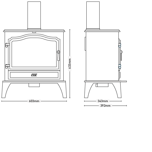 ESSE G200 flued gas stove dimensions