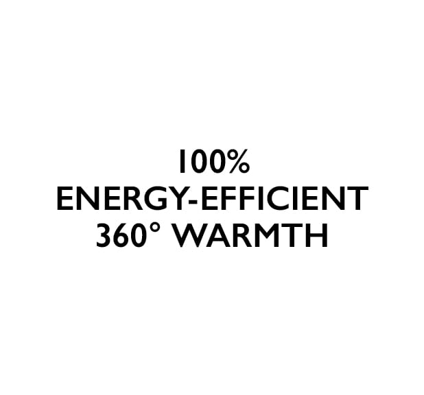 100% energy-efficient 360 degrees warmth