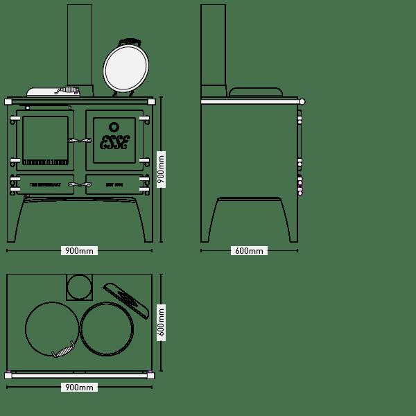 ESSE Gas Ironheart Dimensions