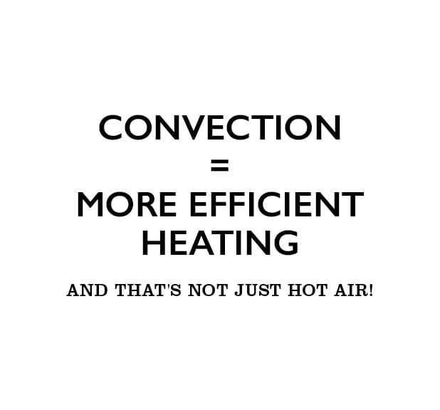 Convection = More efficient heating abd that's not just hot air