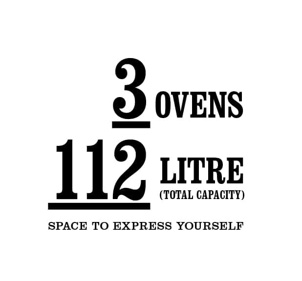 3 Ovens 112 litre total capacity. Space to express yourself.