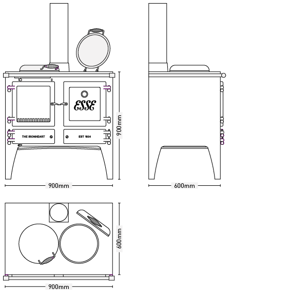 ESSE Woodburning Ironheart Cooker Dimensions