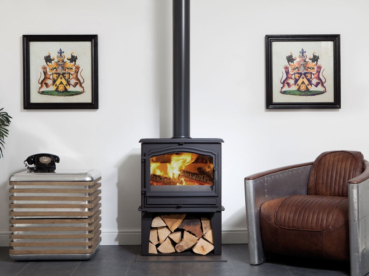 ESSE 100 stove with log store