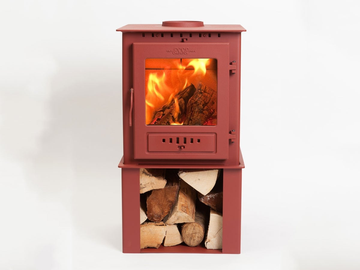 ESSE 1 stove in ruby red with log store
