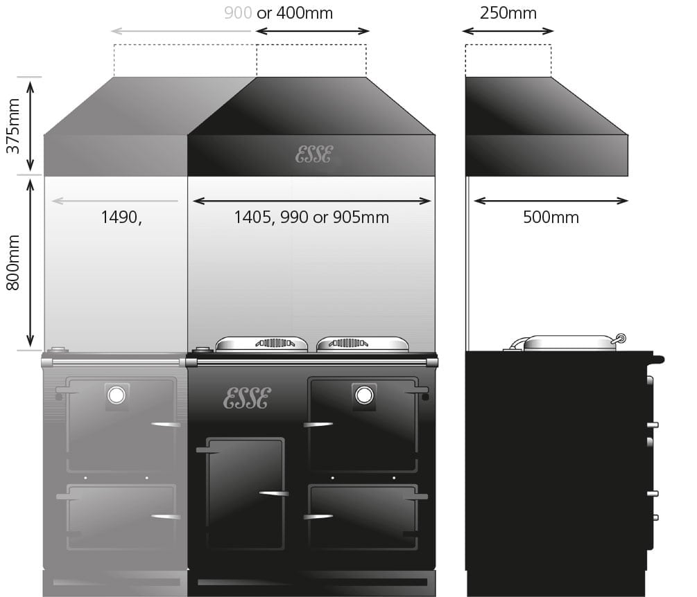 Extraction hoods dimensions