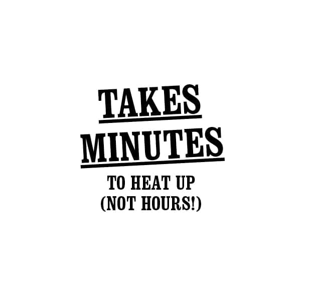 Takes minutes to heat up not seconds