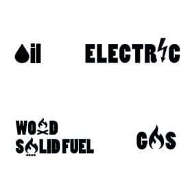 oil electric wood and gas icons