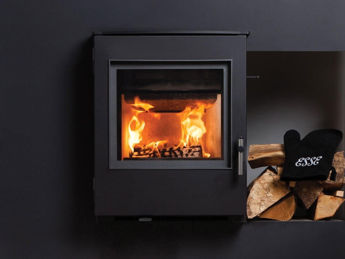 Close up wall mounted ESSE inset stove
