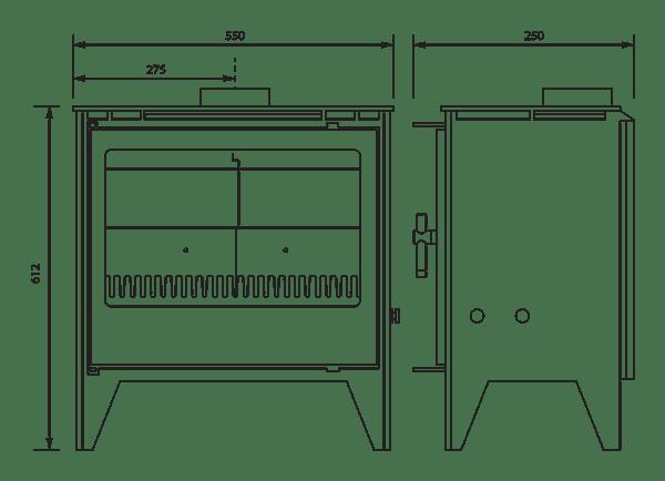 ESSE 150SE stove dimensions