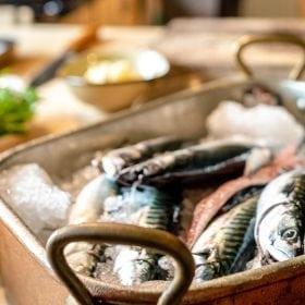 Pan Fried Mackerel, Labneh, Baby Gem, Salsa Verde