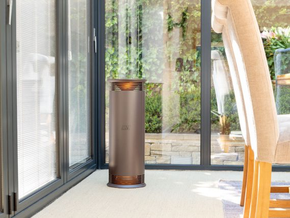 rose ESSE Vector portable heater in conservatory