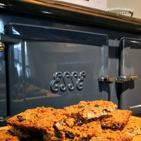 homemade cookies in front of an ESSE range cooker