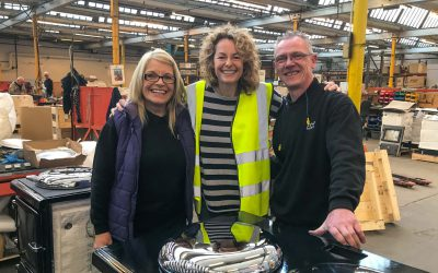 Kate humble at the ESSE factory
