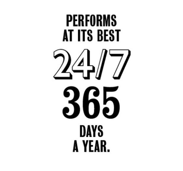 Performs at its best 24/7 365 days a year