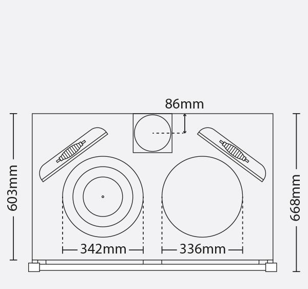 ESSE 990 hybrid range cooker hob dimensions