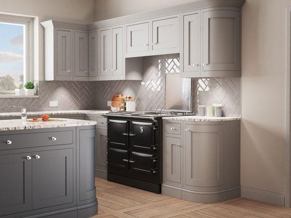 black ESSE 990 ELX in a grey modern kitchen angled