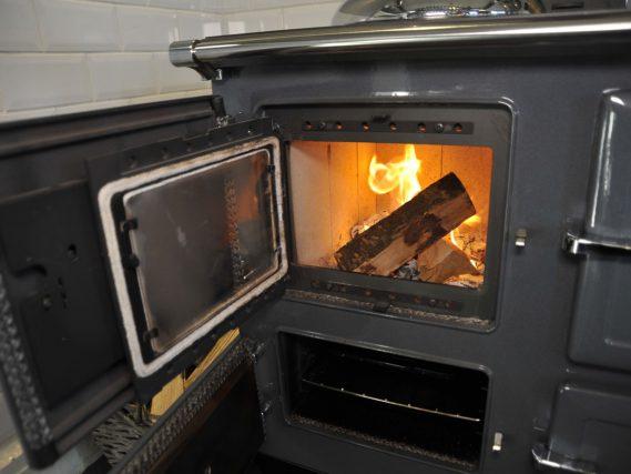 ESSE 990 Hybrid burning logs door open