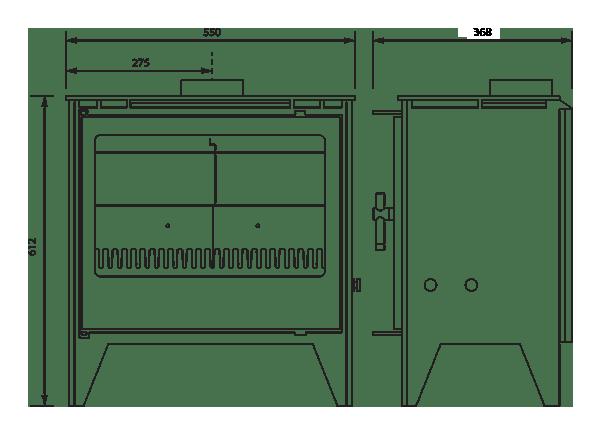 250se stove dimensions