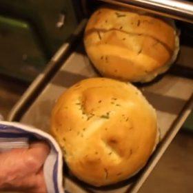 ESSE baked crispy wild garlic bread