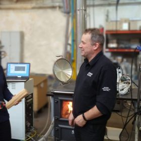 Amanda Lea Langton from the University of Manchester and ESSE technical director Craig Nutter conduct emissions testing on the ESSE Bakeheart cook stove.