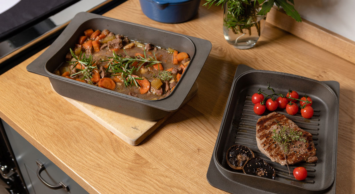 ESSE casserole dish and griddle pan cooked food