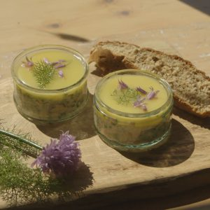 Potted salmon and rhubarb crumble